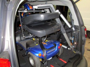 Large hoist with Scooter in a Ford Galaxy