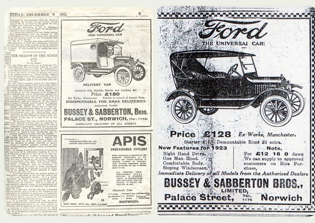 Busseys newspaper adverts for the Ford Delivery Van (1921) and the Ford Model T (1923).