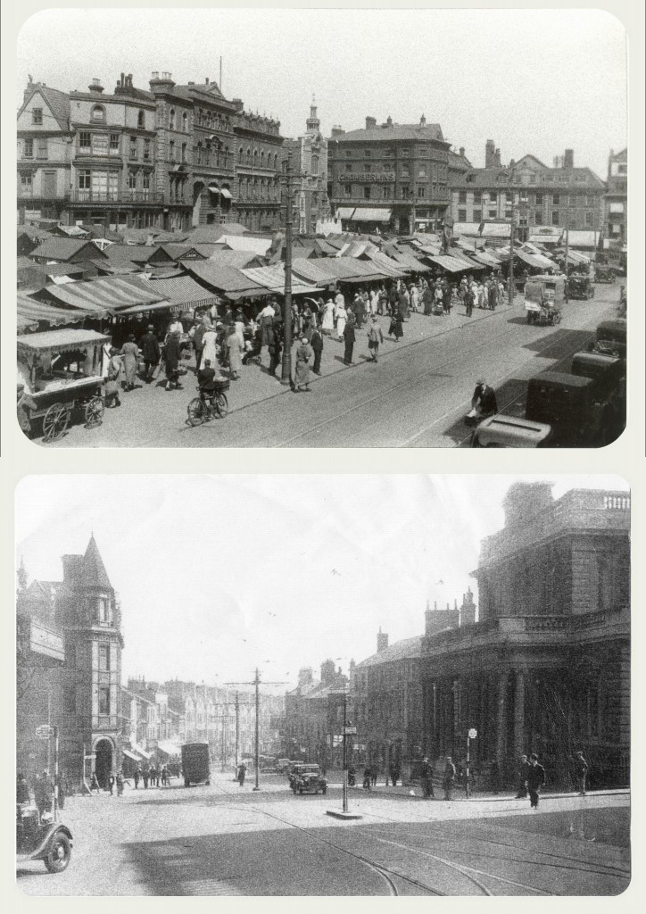 The famous Norwich Markets alongside a shot of Prince of Wales Road dated in the 1920s.