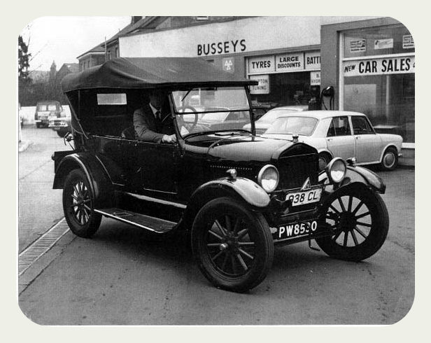 A classic Ford Model T parked outside the Busseys main site.