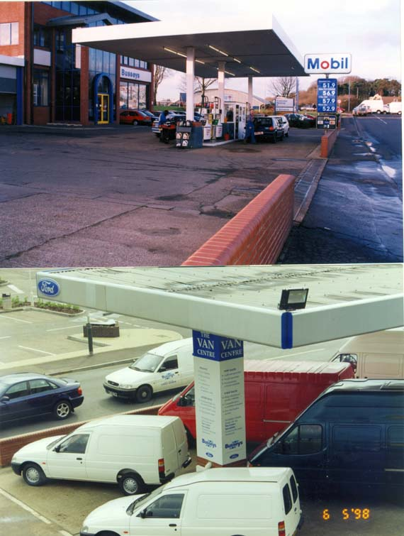 Whiffler road site with and without a petrol station