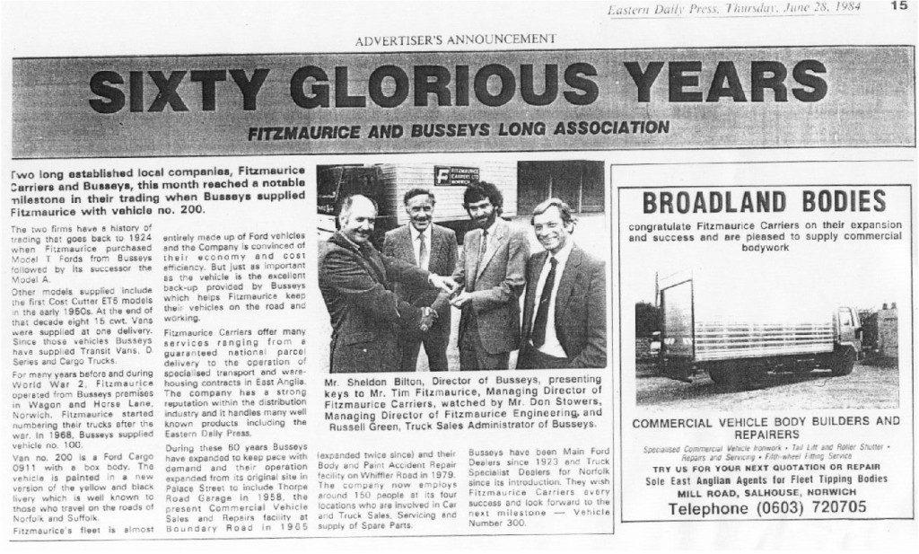 busseys 60 years