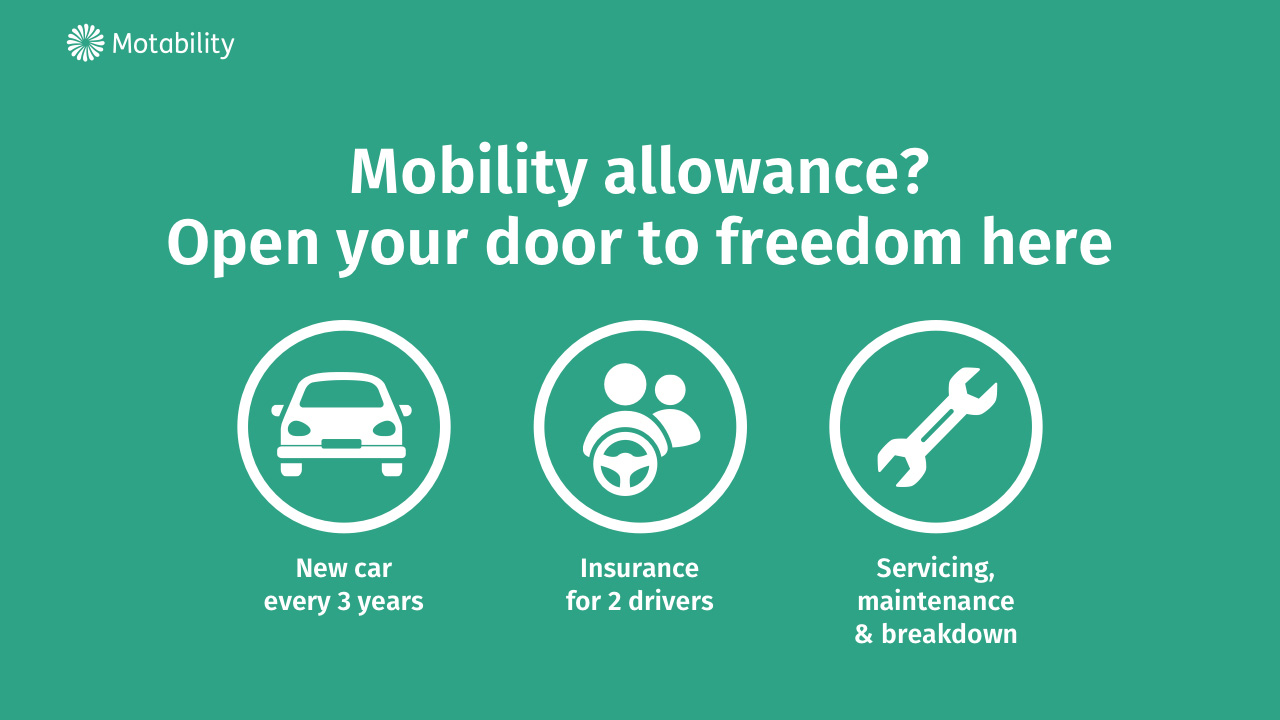 Mobility allowance? Open your door to freedom here. New car every three years. Insurance for 2 drivers. Servicing, maintenance and breakdown.